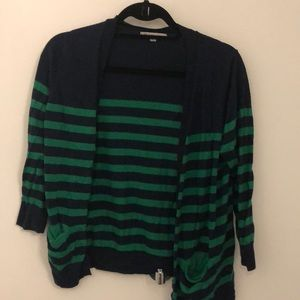 Navy Blue & Green Striped Sweater